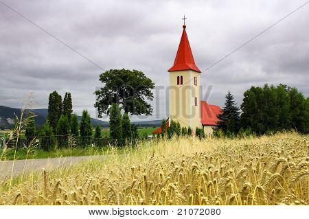 Church In The Forefront Of Grain