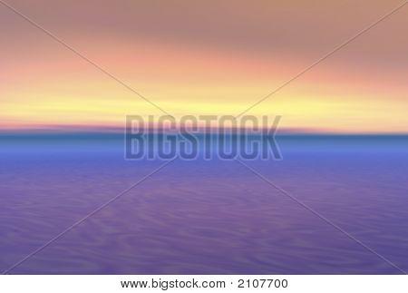 Beautiful Ocean Sunset 3D