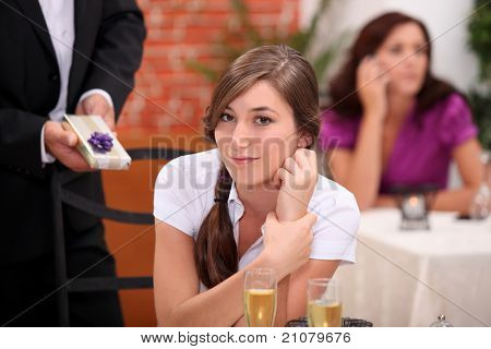 lady in a restaurant