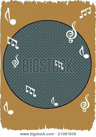 Halftone mono musical note background