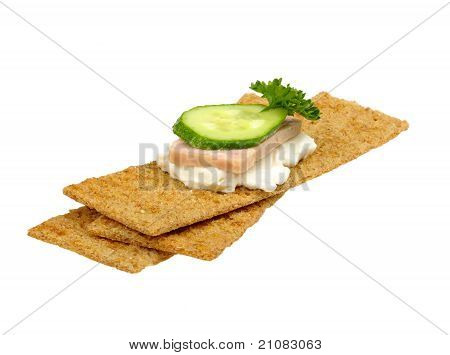 Crispbread With Curd Cheese Pickles Ham And Parsley