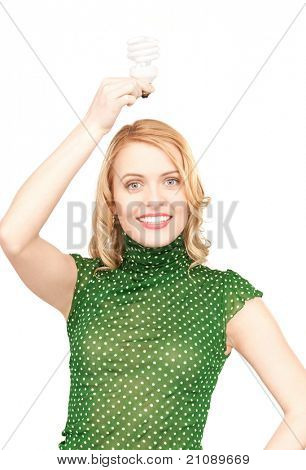 bright picture of woman holding energy saving bulb