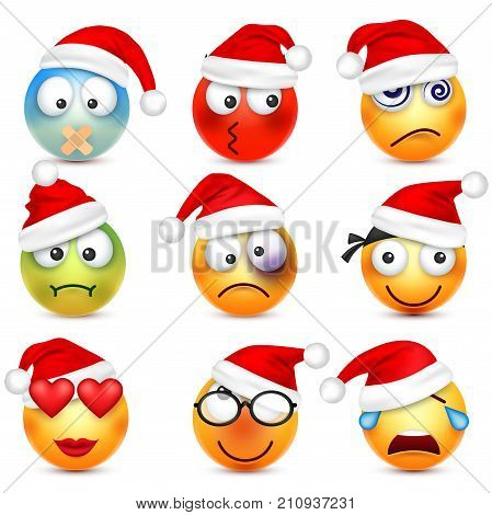 smiley emoticon set yellow face with emotions and christmas hat new year - Christmas Smiley Faces
