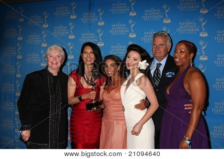 LOS ANGELES - JUN 17:  Susan Flannery, B&B Makeup Winners, John McCook in the Press Area at the 38th Annual Daytime Creative Arts Emmy Awards at Bonaventure Hotel on June 17, 2011 in Los Angeles, CA
