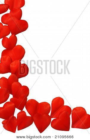 Petals in heart shape over white background