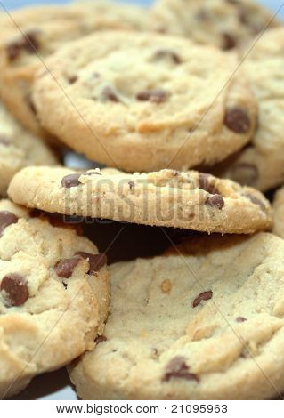 Vertical close up chocolate chip cookies