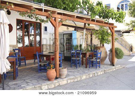 Typical Greek Taverna In Crete