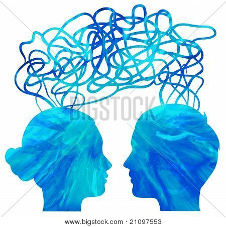 Abstract Blue Silhouette Of Couple Heads Thinking, Relationship Concept
