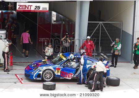 Team Samurai pits at the Malaysian SuperGT race