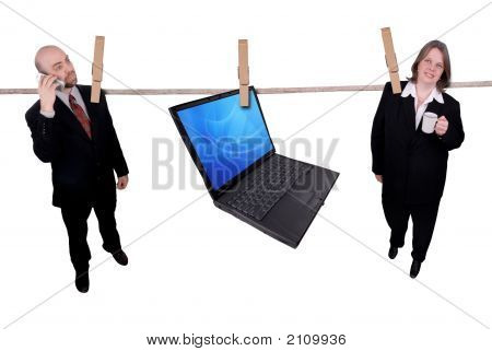 Business People Hanging On A Clothesline