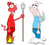 stock photo of angel devil  - Cartoon Devil and Angel characters isolated on white - JPG