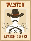 Wanted Poster For Portrait Face.western Vintage Paper poster