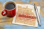 millennials generation word cloud on a napkin a cup of coffee - demography concept poster