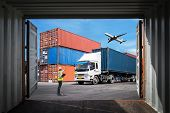 Business Logistic Concept, Import And Export Concept poster