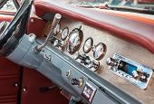 Vintage Car Interior - Steering Wheel And Dashboard poster