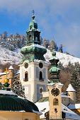 stock photo of banska  - Old Castle in winter Banska Stiavnica - JPG