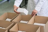 High-angle close-up view of the hands of a manufacturing worker putting packed products in cardboard poster