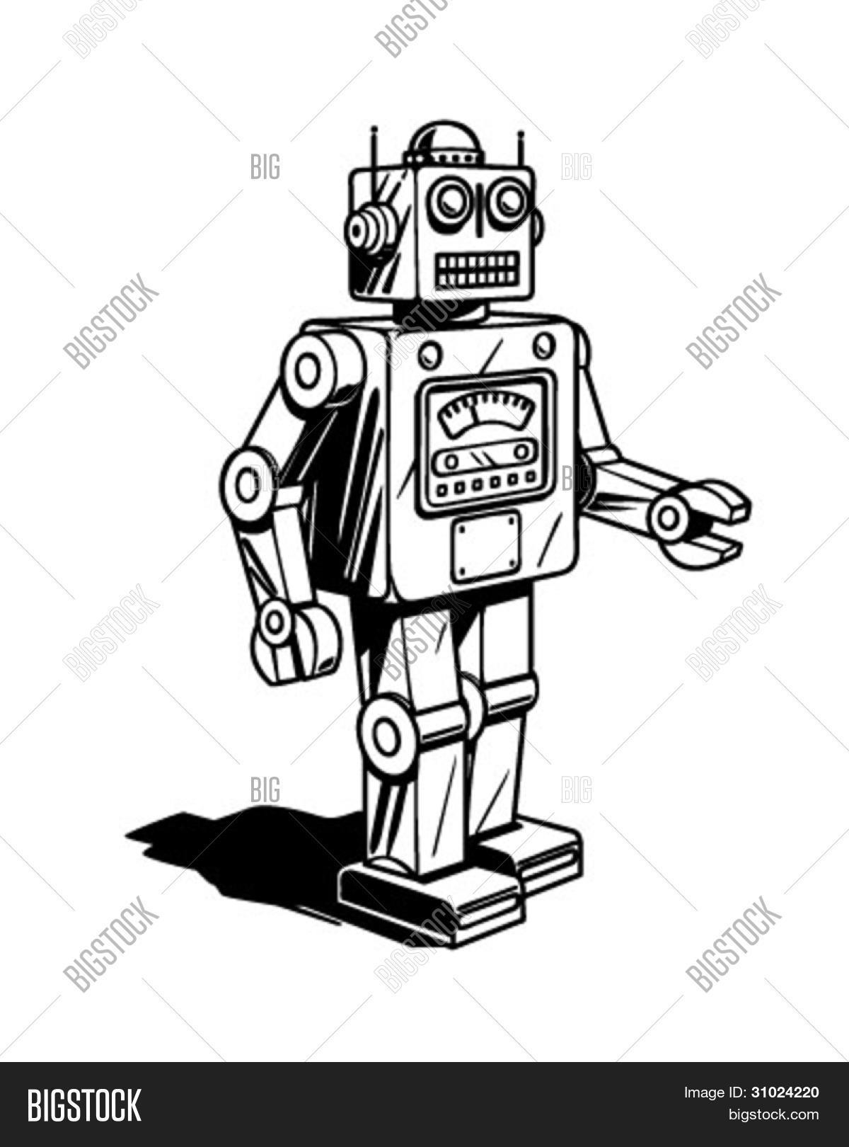 retro robot clipart illustration vector amp photo bigstock