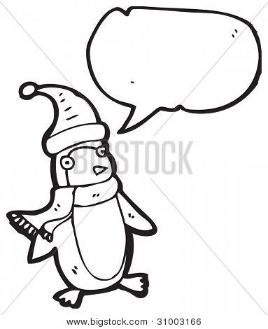 cartoon penguin in hat and scarf