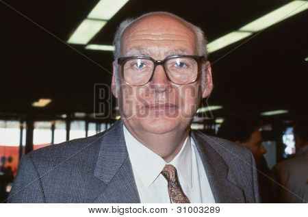BRIGHTON, ENGLAND - OCTOBER 1: Jimmy Knapp, General Secretary of the National Union of Rail, Maritime and Transport Workers, attends the Labour party conference on October 1, 1991 in Brighton, Sussex, England.