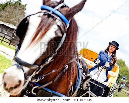 Beautiful woman driving a horse carriage outdoors