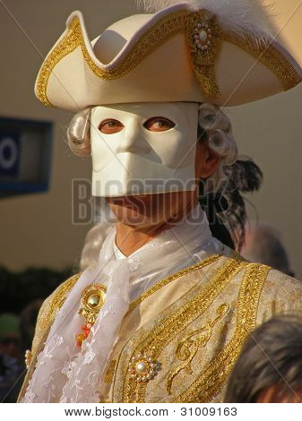 Person in costume during Monfalcone Carnival 2010