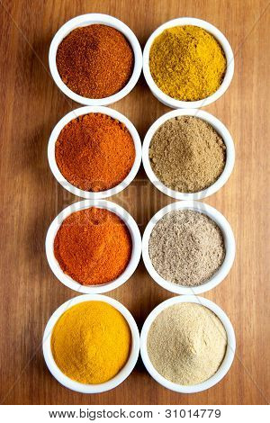 Spices in ramekins
