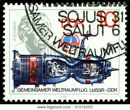 Vintage  Postage Stamp. Soyuz And Albert Einstein.
