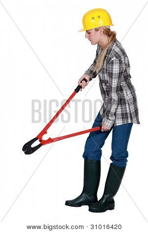 Woman with a pair of boltcutters