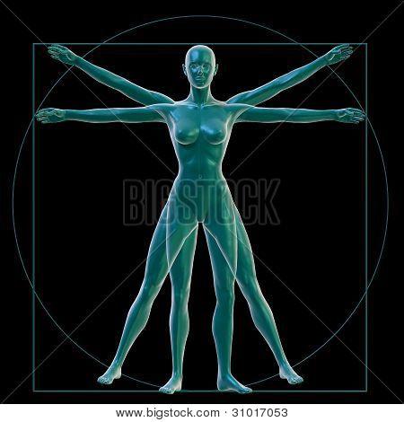 Vitruvian woman on black