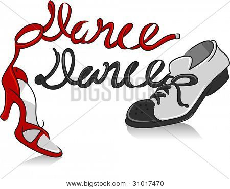 Illustration Featuring a Pair of Dancing Shoes