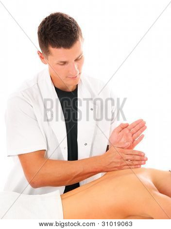 A picture of a physio therapist giving a back massage over white background