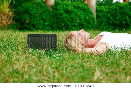 Young Beautiful Woman Lying