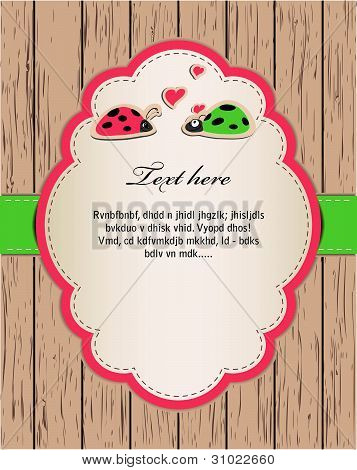 wooden card with ladybirds in love.