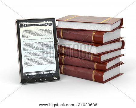 E-book reader and  stack of books on white background. 3d