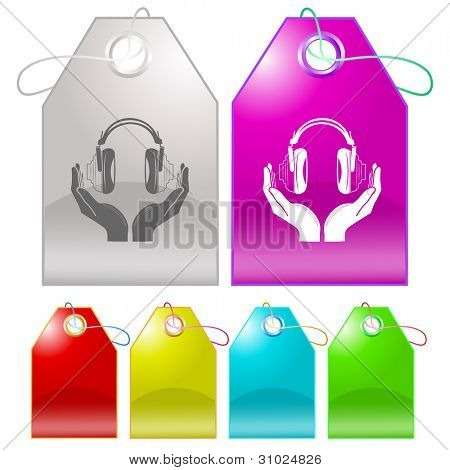 headphones in hands. Raster tags. Vector version is in my portfolio.