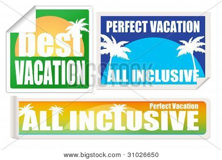 Set Of Vacation Labels And Stamps