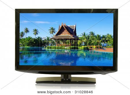 frontal view of widescreen lcd monitor isolated on white