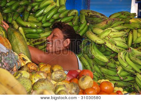 Peruvian vegetables vendor