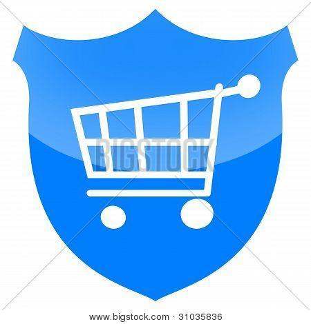 Shopping cart on shield