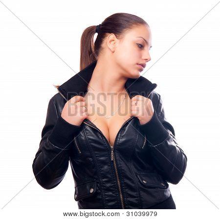 Beautiful girl in black leather jacket isolated on white background