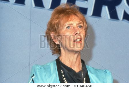 LONDON - JUNE 27: Angela Rumbold, Minister of State for Education and Science and Conservative Member of Parliament for Mitcham and Morden, speaks at a party conference on June 27, 1991 in London.