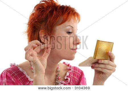 Make-Up Of Red Haired Woman Isolaited On White Background