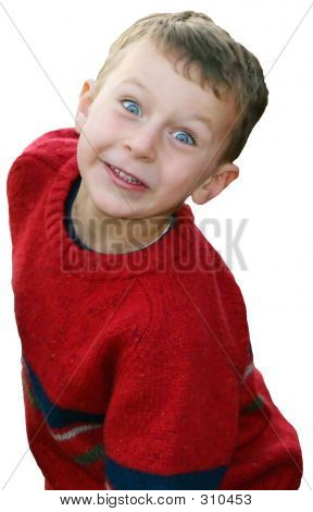 Bright Eyed Boy In Red Sweater