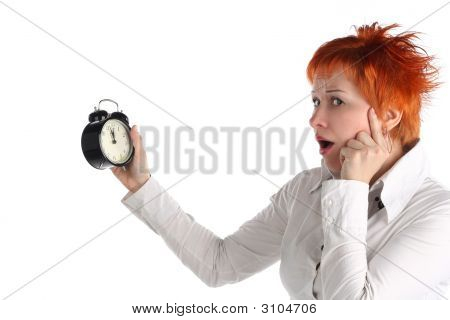 Business Woman With Clock. Time Is Over! Deadline Concept