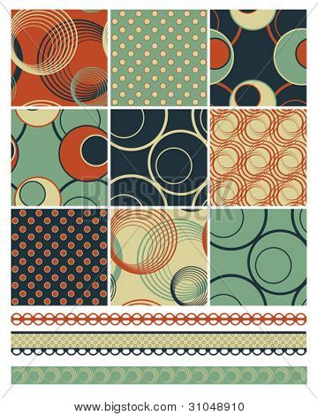 Retro Patchwork Vector Patterns.  Use to create retro backgrounds and fabric pieces with a modern twist.  Ideal for quilting and fabric projects.