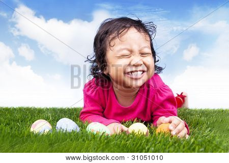 Cute Girl With Easter Eggs