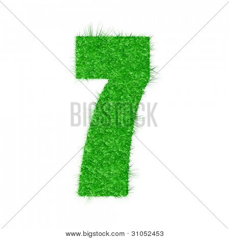 3D number 7 - from my natural green grass number collection - vector illustration