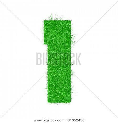 3D number 1 - from my natural green grass number collection - vector illustration