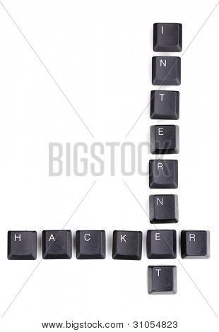 Keyboard keys saying internet-hacker isolated on white